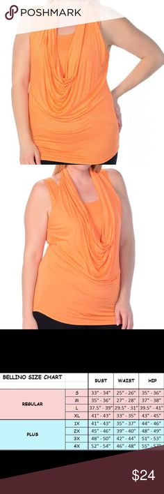 🆕 PLUS Drape Sleeveless Top Tangerine Stretchy and stylish with the drape neck detail. 97% Rayon and 3% Spandex. Also available in turquoise, gray, black, white and lilac. Bellino Clothing Tops Tank Tops