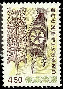 Rukinlapa-postimerkki. Finnish stamp with spinning machine part.