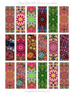 Digital Collage Sheet Instant Download by OrangeKittyStudio, $2.00 1x3-inch microslides for pendants, art, crafts Art Crafts, Resin Crafts, Jewelry Crafts, Tile Art, Tiles, Diy Paper, Paper Art, Paper Beads Template, Printables