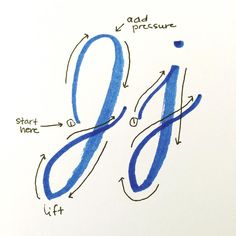 Letter J ♥ Brush lettering. Start with crayola markers – Lyss Tyler Letters Lettering Guide, Creative Lettering, Cool Lettering, Brush Lettering, Calligraphy Handwriting, Calligraphy Letters, Cursive, How To Caligraphy, Crayola Calligraphy