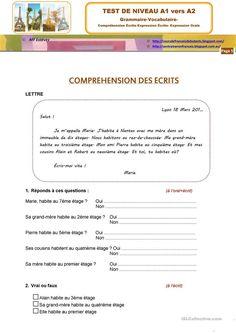 TEST DE NIVEAU A1 VERS A2