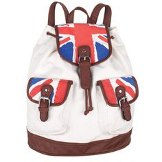 a2979f9271537e NEW Delia s Backpack Canvas Union Jack Leather Drawstring British Flag Book  Bag 400000785387