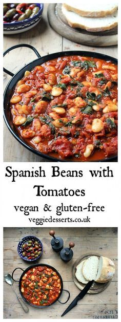 These Spanish beans with tomatoes and smokey sweet spices are so easy to make in less than 20 minutes. They're perfect as tapas, main meals or a side dish. Vegan and gluten-free. - This page has so many vegan meals! Tapas Recipes, Whole Food Recipes, Cooking Recipes, Healthy Recipes, Healthy Meals, Free Recipes, Vegetarian Meals, Vegan Bean Recipes, Beans Recipes