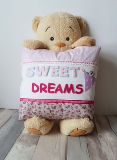 """A stunning focal point in your little ones nursery or bedroom, this beautiful Ella style """"Sweet Dreams""""  cushion features luxury designer fabric with varsity felt lettering & sleepy peekaboo bear that makes this extra special and adds a really chic finishing touch to any room. Felt Letters, Luxury Designer, Sweet Dreams, Little Ones, Fabric Design, Cushions, Teddy Bear, Nursery, Touch"""