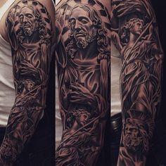 Amazing artist Jun Cha Jesus tattoo sleeve.