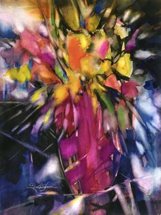 """Large Flower Watercolor Painting -  Original abstract floral painting """"Soft Blooms"""" by Kathy Morton Stanion EBSQ"""