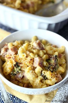 This recipe is classic comfort food: a creamy, homemade macaroni and cheese, that's been taken to the next level with a little ham and roasted broccoli.