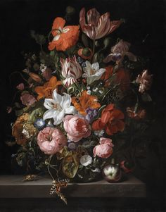 Flowers in a Glass Vase by Rachel Ruysch from Detroit Institute of Arts