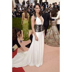 Emma Stone in white & silver Prada gown at 2016 Met Gala