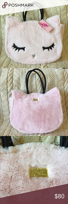 """Betsey Johnson pink furry alley cat tote, NWT! Super cute Betsey Johnson pink furry alley cat tote, NWT!  Measures 15""""Lx12""""Hx4""""W. Betsey Johnson Bags Totes"""