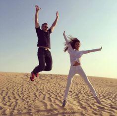 Ryan Serhant and Emilia Bechrakis loving their Hala Desert Safari!