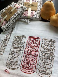 Retro Tiki Flour Sack Kitchen Tea Towel Kitschy Hawaiian Screen Print