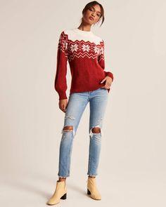 Women's Boyfriend Crewneck Sweater | Women's Tops | Abercrombie.com Crew Neck, Boyfriend, Snowflake Pattern, Shopping Lists, Crewneck Sweater, Festive, Capri Pants, Sweaters For Women, Cozy