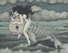 Narwhal ghost skeleton - fantasy lowbrow gothic art print pop surreal kamikakushi bake kujira spirited away