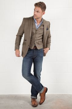Tweed Blazer with matching waistcoat and brogues