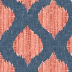 Lela Ikat in Navy and Coral fabric by sparrowsong on Spoonflower - custom fabric Coral Fabric, Ikat Fabric, Grey Fabric, Foyer Wallpaper, Coral Wallpaper, Custom Wallpaper, Coral Living Rooms, Coral Kitchen, Acrylic Dining Chairs