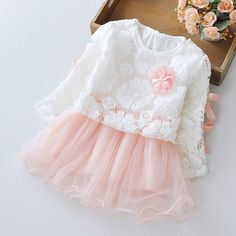 Awesome Spring Long Sleeved Flower Bow Infant Kids Baby Bebe Girls Lace Tops+Dresses Two Pieces Princess Tutu Birthday Party Dress MT596 - $30.99 - Buy it Now!