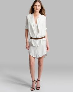 HALSTON HERITAGE Dress - Double Layer Belted Shirt  #Bloomingdale's