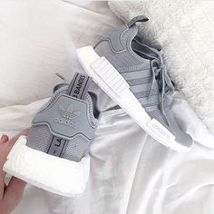 adidas nmd grey with reflective stripes women: 6.5/7 grade school: 6