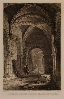 "Interior of the Castle Chapel, Newcastle, 1833 by Sands (19th Century British School) after Allom Engraving In a cream conservation grade mount (matt) In very good condition Engraving: 16.7 x 11 cm (visible); mount: 20.4 x 25.4 cm (8"" x 10"") Visit our Frames page to view and select a frame for this work"