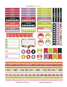 Free Printable Planner Stickers - Summer - Large Happy Planner - p.2