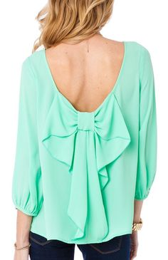 Bow Back Blouse - Mint - I can't wear this color...but in a beautiful plum? This shirt would be awesome!
