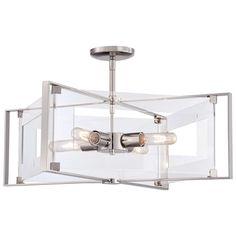 Crystal-Clear 4 Light Semi-Flush Pendant Light