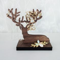 Laying Deer Jewelry Organizer, jewelry holder, jewelry hanger, wooden home decor, jewelry display