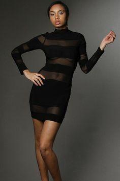 Solid Striped Mesh Insert Long Sleeve Mini Dress