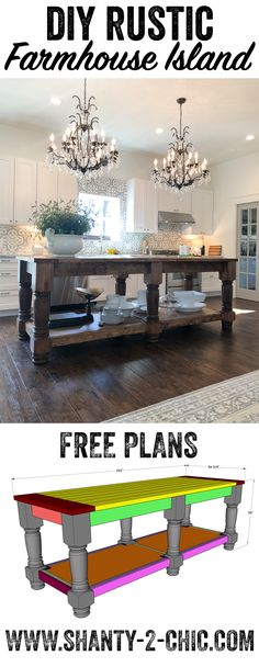 Free plans and how-to video to build this beautiful 8.5' farmhouse style kitchen island! This island can be modified to fit your space! Get the how-to at www.shanty-2-chic.com via @shanty2chic