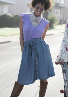 How the Staples Have Turned Midi Skirt. This chambray skirt proves that a piece doesnt have to be ordinary to make it a wardrobe essential! #blue #modcloth