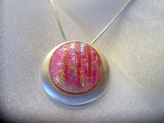 Fused Dichroic Glass Pendant and Necklace  by SunlightGlassJewelry, $33.00