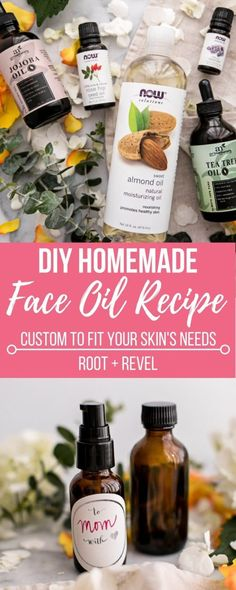 This Custom DIY Homemade Face Oil recipe is a natural nontoxic and inexpensive skincare multi-tasker that can be tailored to all skin types (oily/acne-prone dry sensitive mature) making it the perfect Mother's Day gift idea. Homemade Face Masks, Homemade Skin Care, Diy Skin Care, Homemade Facials, Homemade Beauty, Avon Products, Beauty Products, Body Products, Organic Skin Care