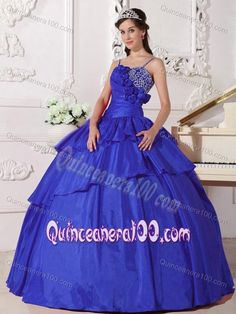 Spaghetti Straps Blue Sweet 16 Dresses with Beading and Hand Made Flowers