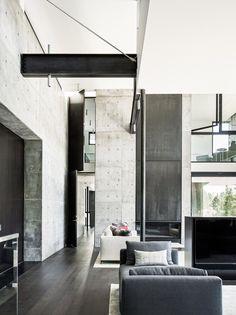 Creek House by Faulkner Architects preserves boulders on steep site #ModernHomeDecorInteriorDesign