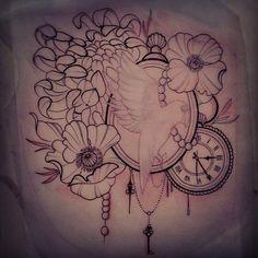 Custom piece by Jessica Wright, Capital Tattoo (worked around existing bird)