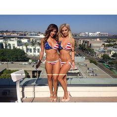 NOW AVAILABLE! True Honor USA Bikini modeled by Ana Cheri and Leanna Bartlett