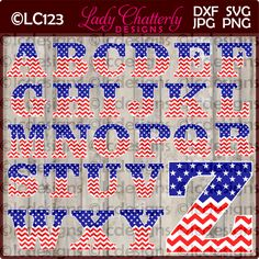 LC123 - Stars and Chevron Patriotic Alphabet by LadyChatterlyDesigns on Etsy