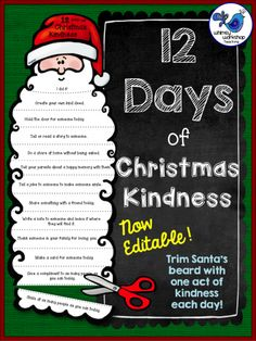 Spread a little Christmas Kindness - trim Santa's beard with every act of kindness you do! WhimsyWorkshopTeaching.com