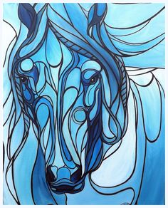 Blue Horse in a stained glass style, painted in Acrylic paint by UK artist Amber Rose O'Sullivan - www.amberroseosullivan.co.uk #StainedGlassHorse