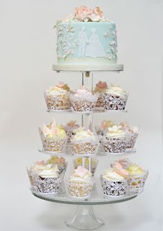 Wedding Cupcake Tower #silhouette #couple #blue #pastel #white