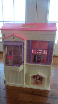 "1996 Mattel Barbie 18 x 24-36""  Fold Out PINK Doll House RARE Complete!"
