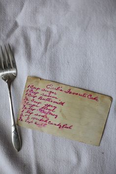 old, old family recipe cards