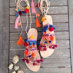 A personal favourite from my Etsy shop https://www.etsy.com/listing/254004409/pompom-boho-sandals-india