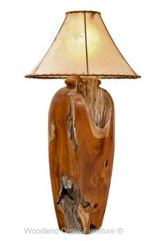 These unique log table lamps are hand turned from solid, natural logs. We only pick the logs with the most character for these beautiful log lamps.  The more natural holes and imperfections the more beautiful the lamp. Woodland Creek prides itself in having the highest quality rustic furniture and decor in the marketplace. Our goal