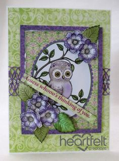 Heartfelt Creations   Purplely Owl And Blooms