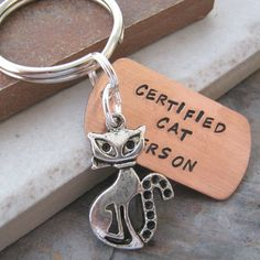 Cat Keychain Certified Cat Person silver plated cat by riskybeads