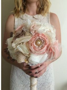 Fabric bouquet fabric flower bouquet vintage by TeacupBridal