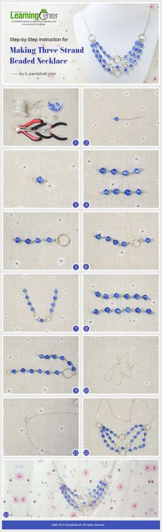 Step-by-Step Instruction for Making Three Strand Beaded Necklace . Click photo for more information.