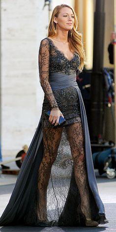 Serena Van der Woodsen- 4X08- Zuhair Murad Fall 2010 RTW Gray Sheer Lace Drape Gown